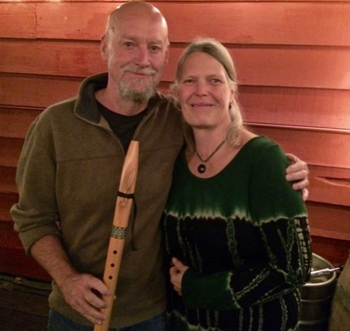Todd Patelle won the native flute (Karen Sample gave him a quick lesson)