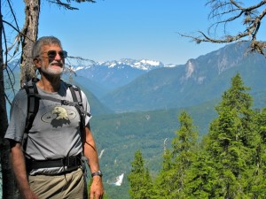 FOHR Founding member, Conway Leovy, from Lake Serene trail, south side of Heybrook Ridge in mid-ground. (photo by Ann Darlington 2008)