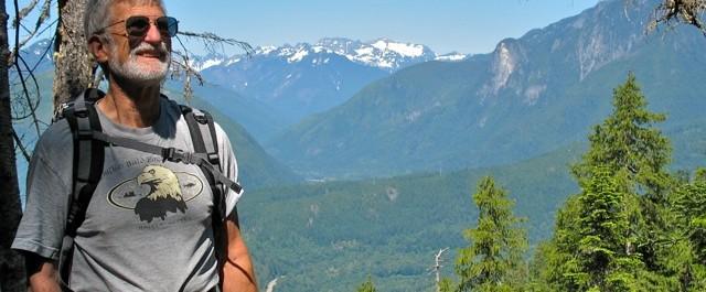 FOHR Founding member, Conway Leovy, from Lake Serene trail, south side of Heybrook Ridge in background. (photo by Ann Darlington 2008)